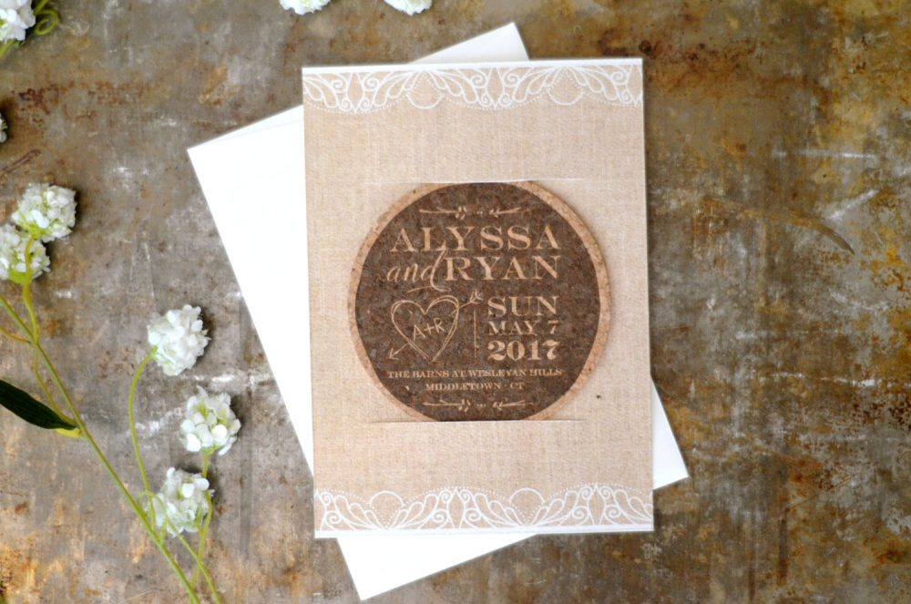 Rustic Linen & Lace Cork Coaster Save The Date // Unique