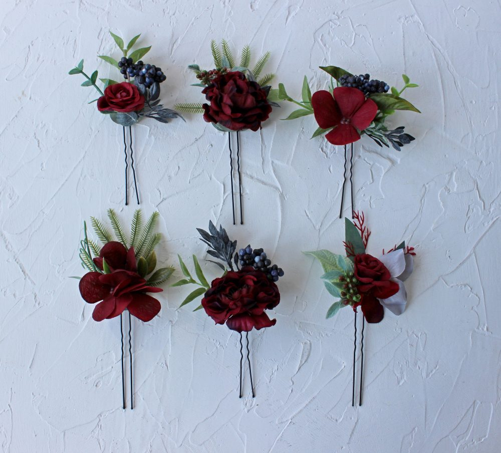 Burgundy Navy Wedding Headpiece, Floral Hair Pins, Gothic Pins