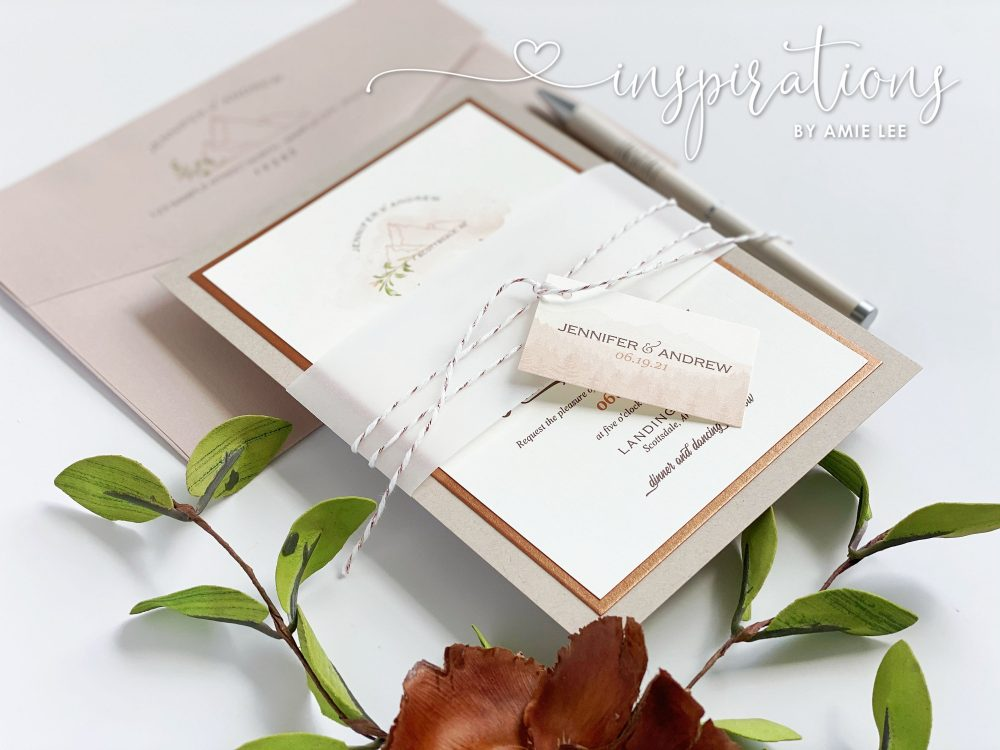 Desert Rose Wedding Invitations, Gold Copper Rustic Elegance Beautiful Mountain Invitations