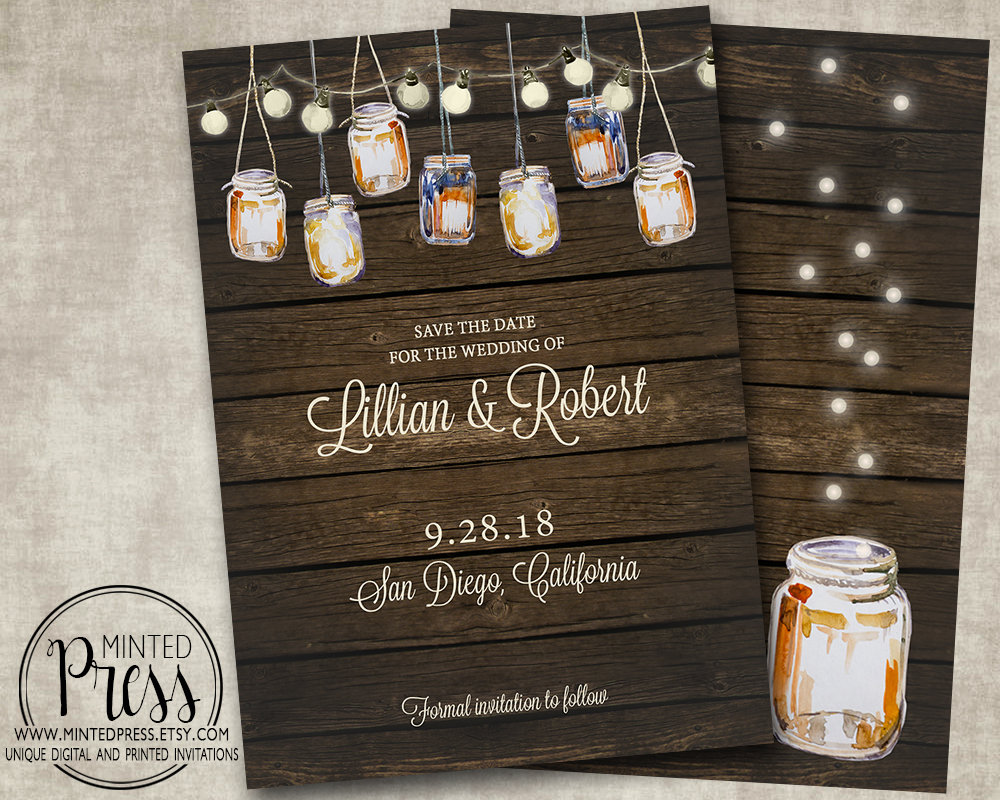 Elegant Save The Date For Your Wedding Mason Jar Rustic Barn Wood Country String Fairy Lights Digital Or Printed I Customize For You