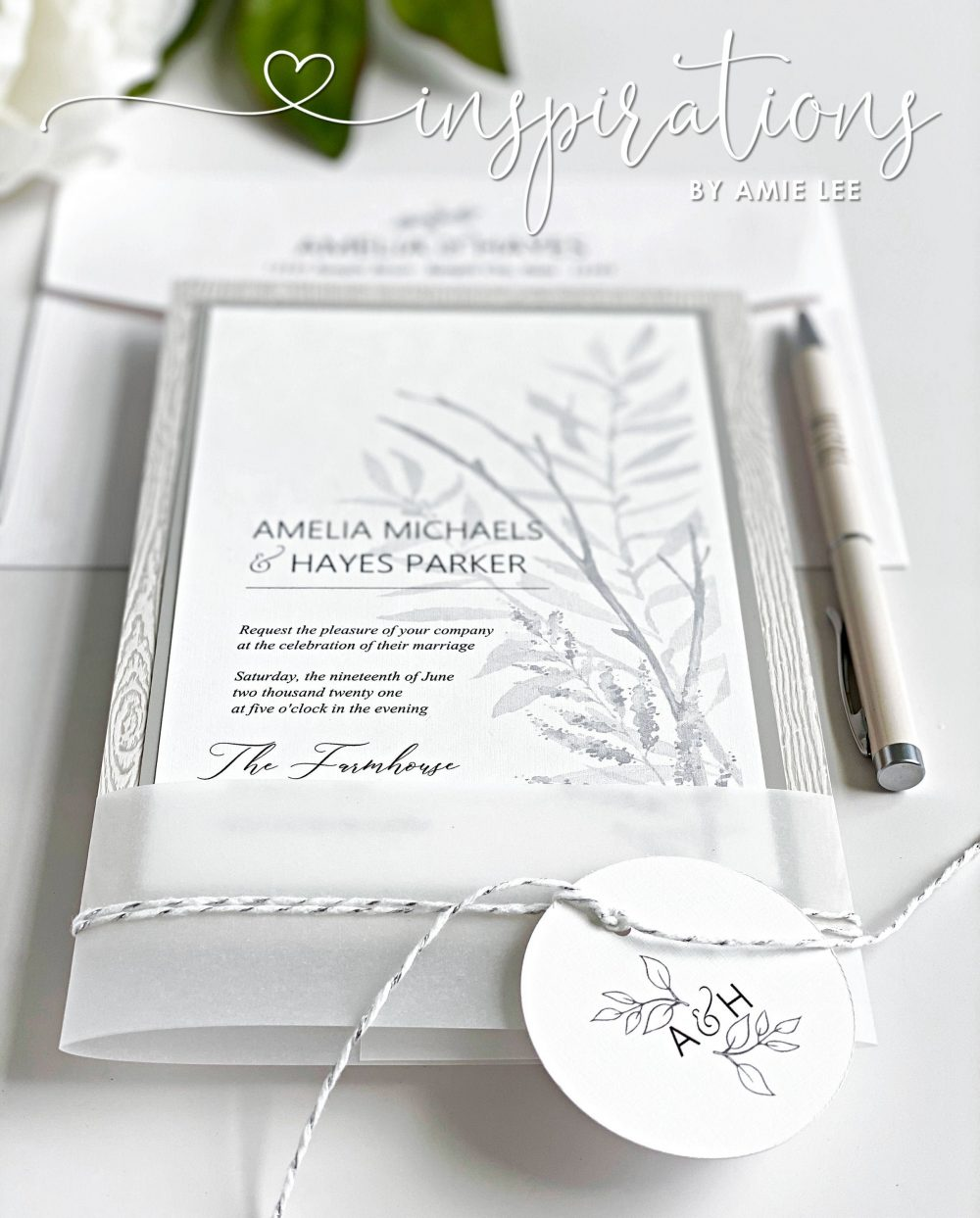 Elegant Farmhouse Wedding Invitations, White Wood Bard Wedding, Rustic Elegance, Countryside Forrest, Textured Invitations