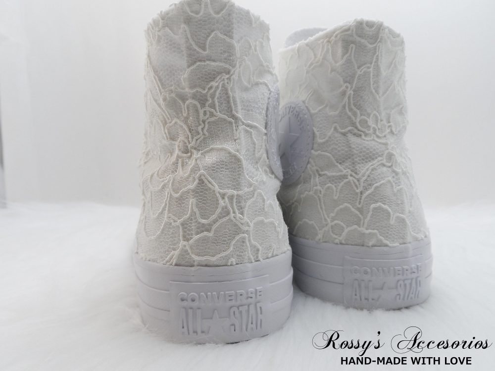 Ivory Lace High Top Converse/Women's Converse/ Wedding /Bridal Sneakers For Bride