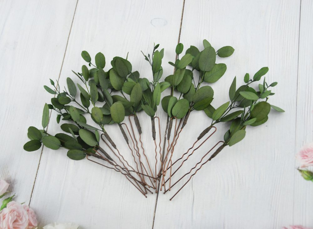 Floral Hair Pins Eucalyptus Flower Headpiece 1 Week Processing Time Wedding Flower For Greenery Pink Floral Piece