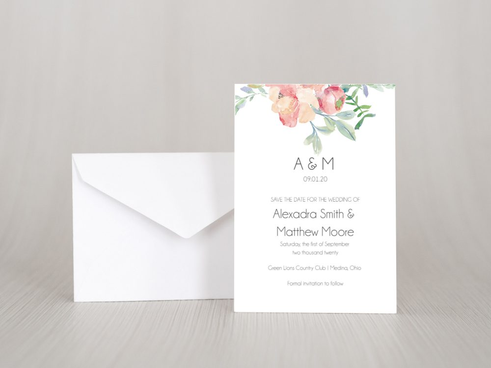 Printed Floral Watercolor Save The Date Invitation Card, Elegant, Simple, Boho, Greenery Leaves, Pink, Blush, Rustic, Classic, Classy, Std