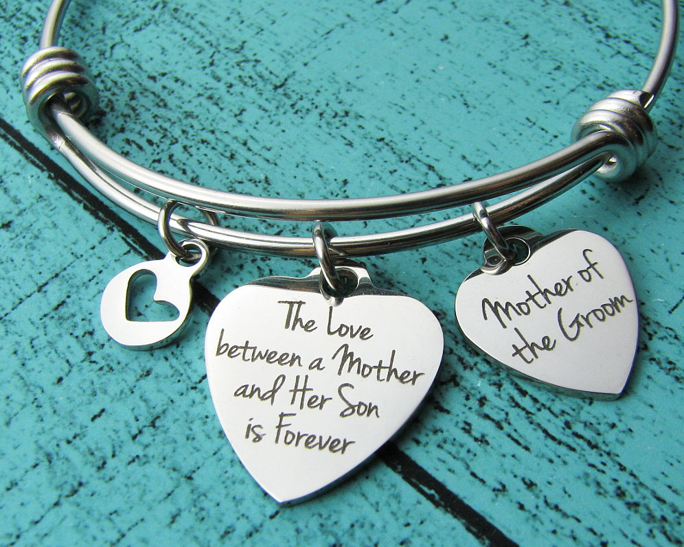 Mother Of The Groom Gift From Son, Wedding To Mom Bracelet, Personalized Gift, Bridal Party Jewelry Parent