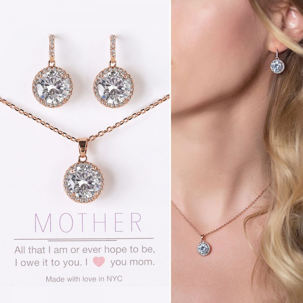 Gift For Mom, Mother Of The Bride Gift, Earring & Necklace Set, Rose Gold Jewelry Set, N557-12