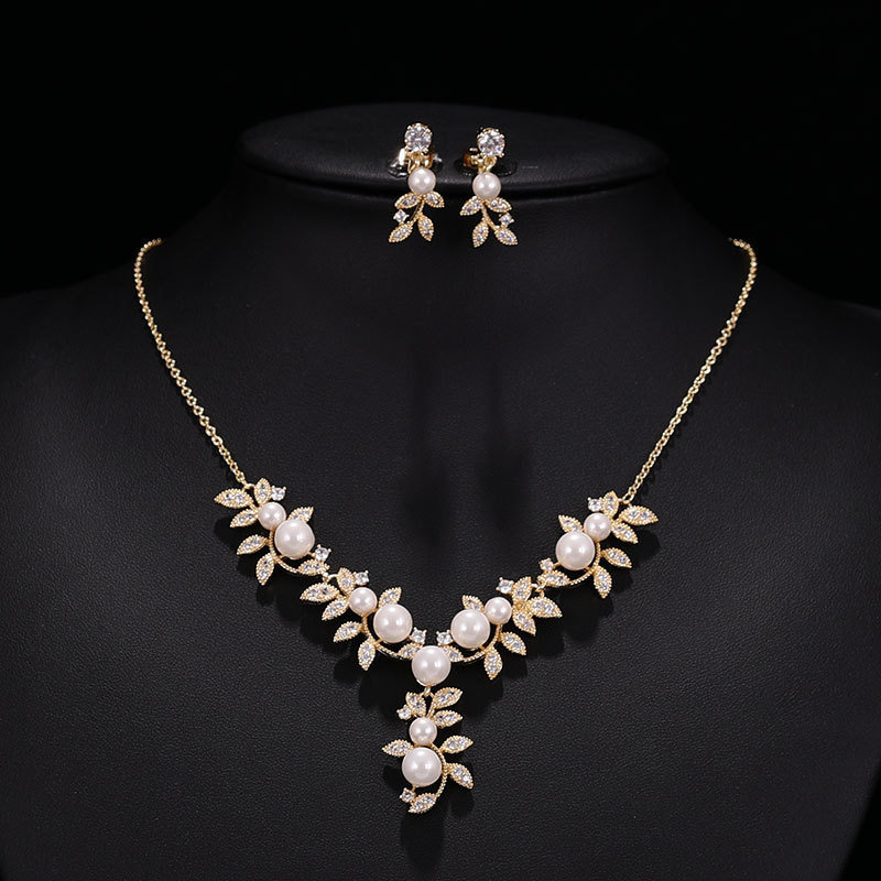Wedding Jewelry Set, Pearl Necklace & Earrings, Gift For Her, A Bride, Bridesmaids, Mother Of Bride, Swarovski Pearl, Tl075