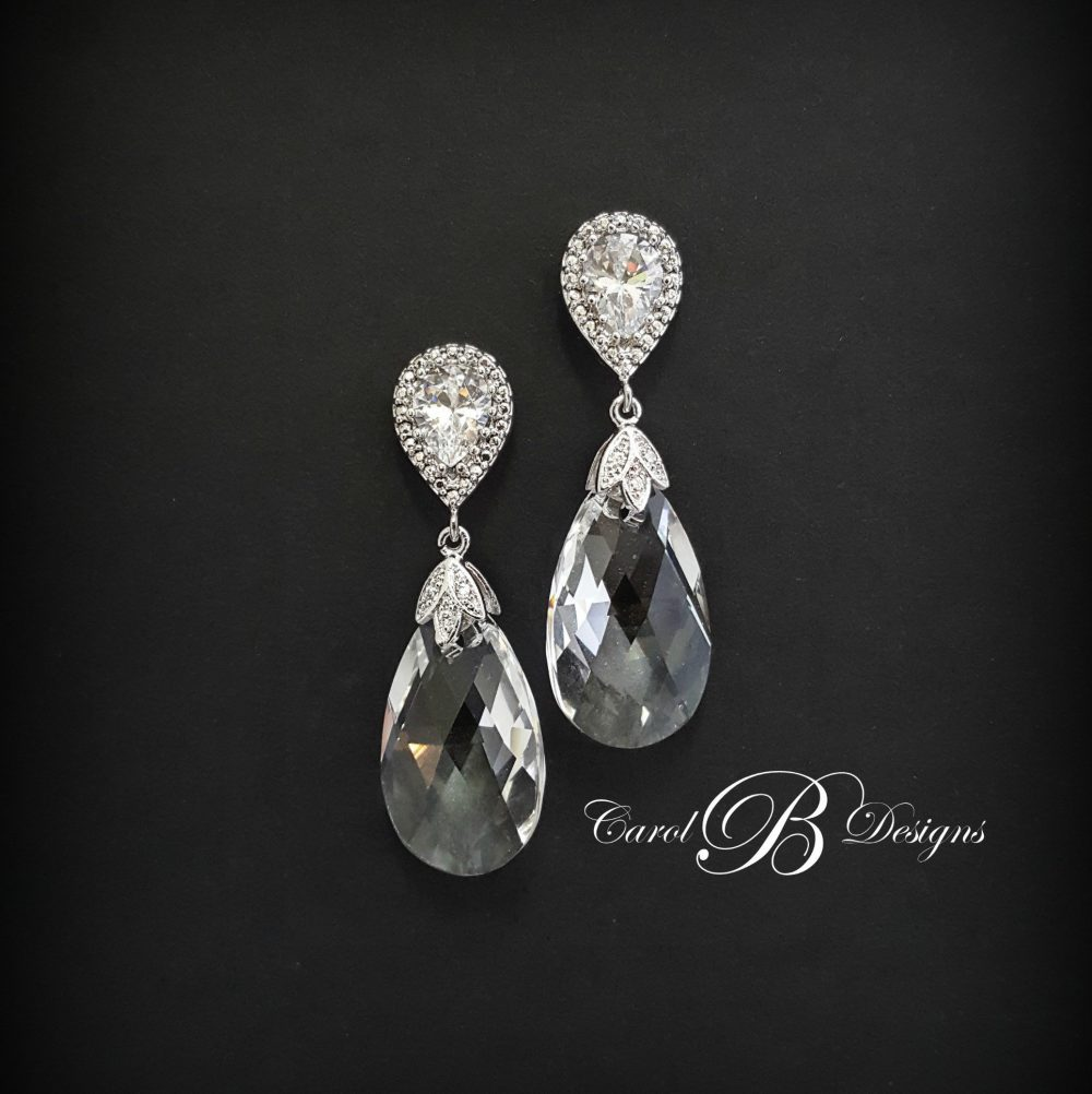 Wedding Jewelry For Brides, Bridal Jewelry, Cubic Zirconia Mother Of The Bride Gift, Earrings, Groom Earrings