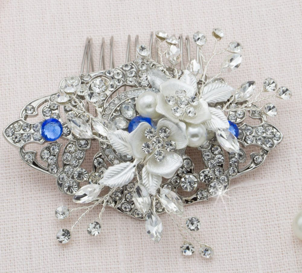 Something Blue Bridal Hair Comb Silver Sapphire Head Piece Floral Hairpiece Art Deco Wedding Crown Bride Tiara Flower Side