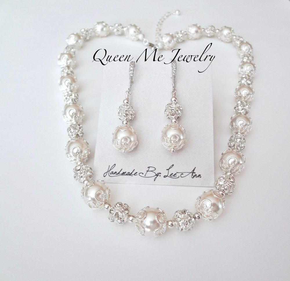 Pearl Jewelry Set For A Bride, Mother Of The Necklace & Earrings, Detailed, Crystal Wedding Bridal Jewelry. Swarovski. Lacey