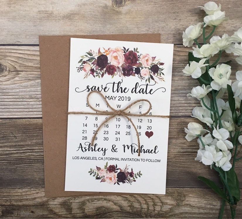 10 Save The Date Card, Calendar Save Floral Marsala Burgundy
