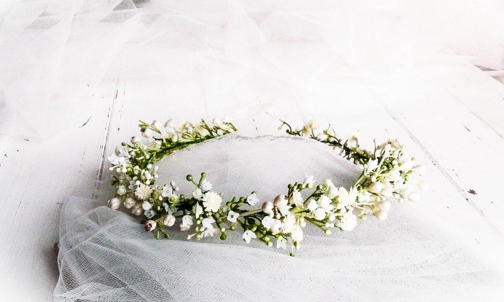 Flower Girl Crown, Crown Wedding, Headpiece, Bride Tiara, Ivory Head Wreath, Headband