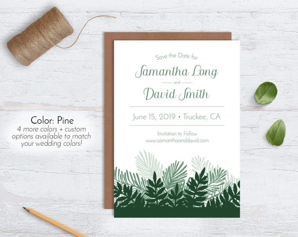 Save The Date Greenery, Pine Branch Card, Eco Friendly Simple Elegant Green Nature Rustic Spring Mountain Woodland Leaf
