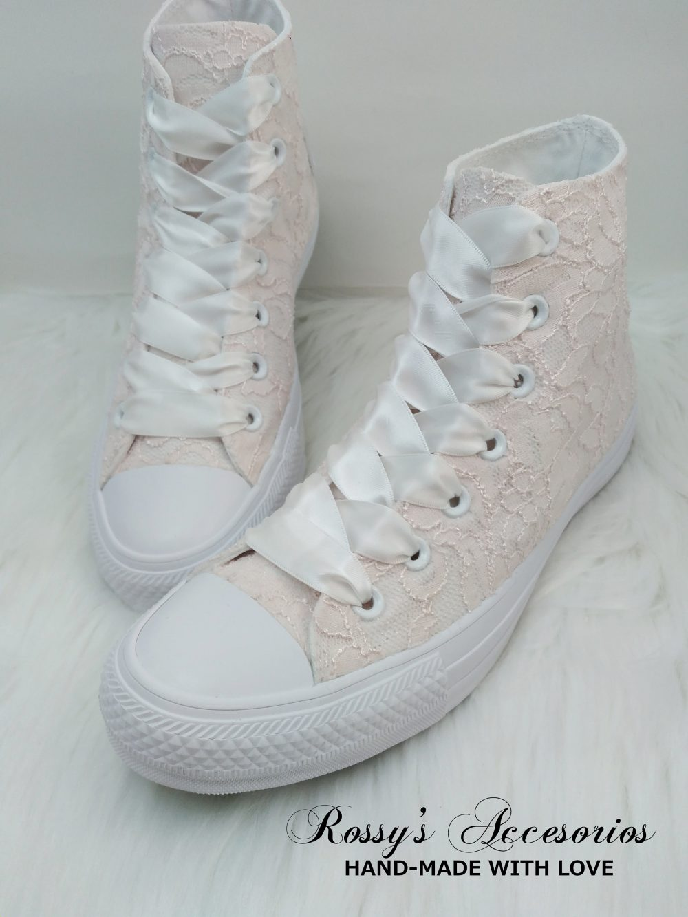 Blush Lace High Top Converse/Women's Converse/ Wedding /Bridal Sneakers For Bride