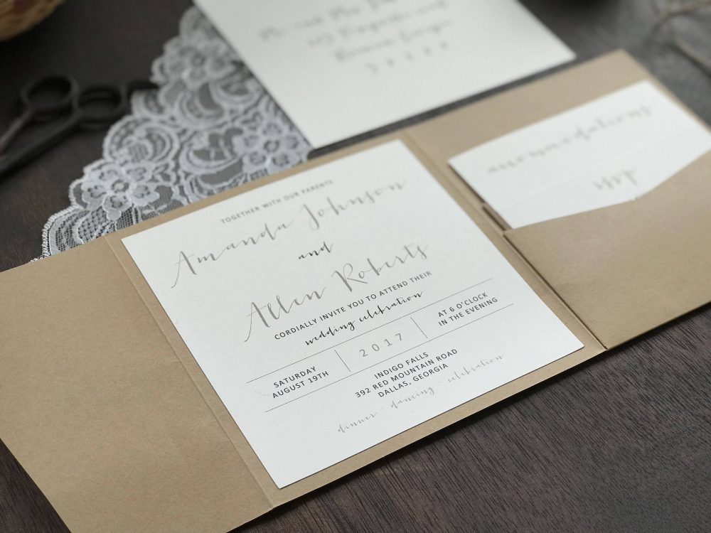Calligraphy Wedding Invitation Set, Rustic Invitation, Lace Elegant Pocket Invitatio