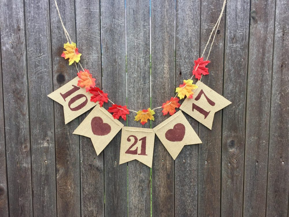 Rustic Wedding Date Burlap Banner - Save The Date - Wedding - Fall Decorations - Photoprop - Foliage