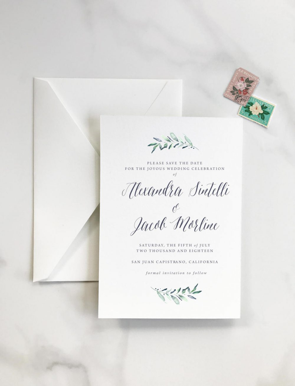 Rustic, Elegant - Olive Leaves Laurel Simple & Classic Save The Date Deposit For Print Order