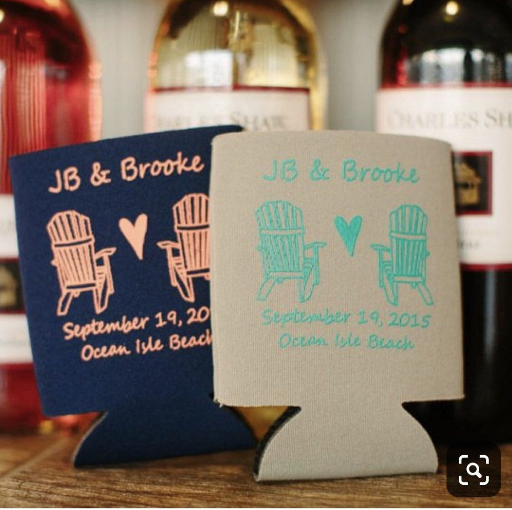 Beach Wedding Favors - Adirondack Chairs Nautical Mountain Personalized Can Coolers, Rustic Wedding, Fall For Guests