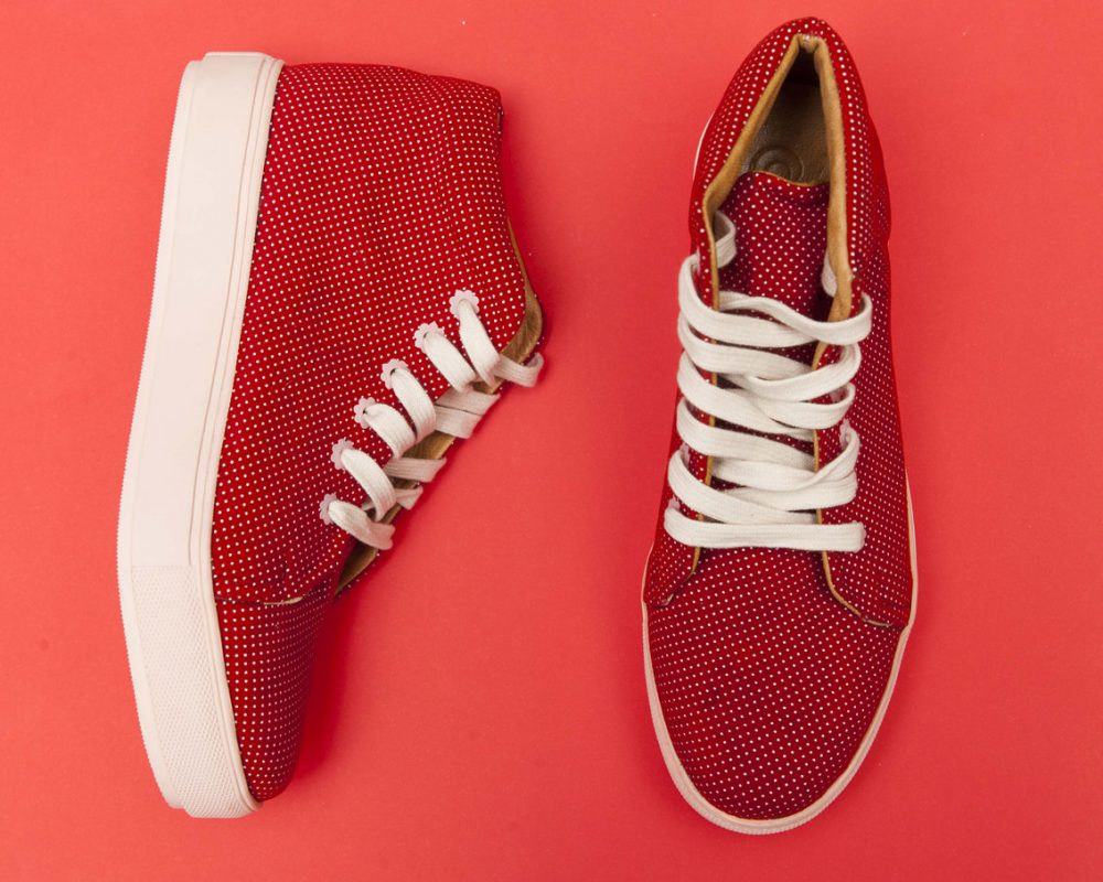 Nina Red Dots - Leather Polka Dot, Woman Urban Sneaker. Handcrafted in Argentina