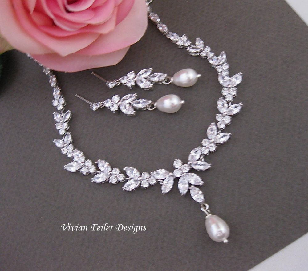 Wedding Jewelry Set Pearl Necklace & Earrings Cubic Zirconia Mother Of The Bride