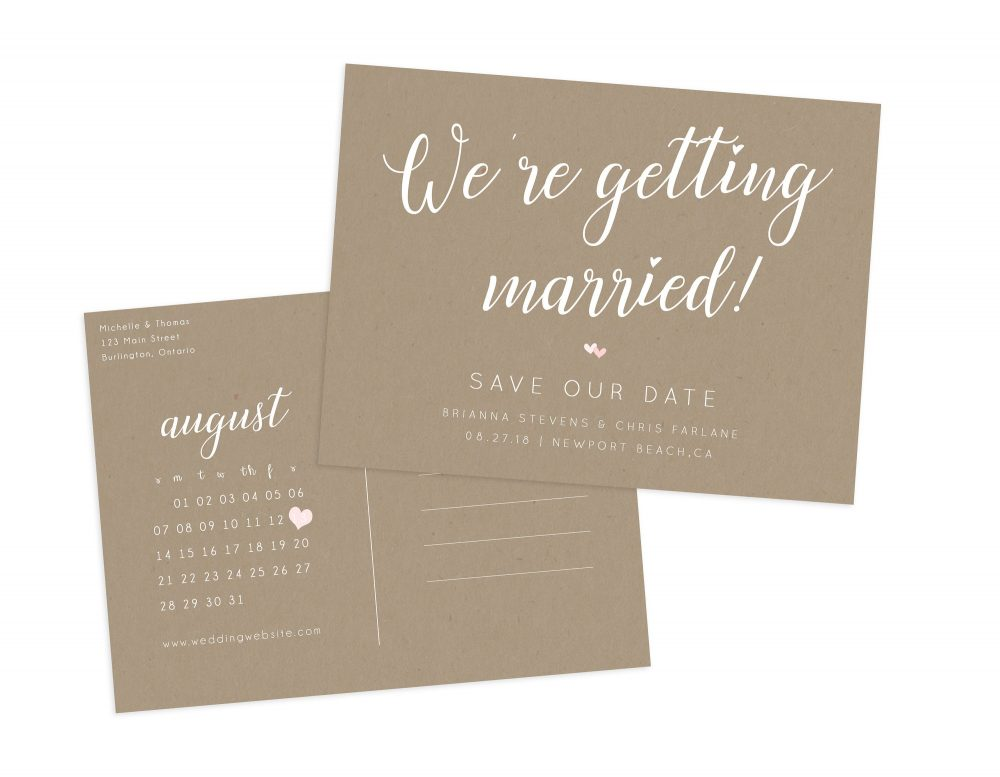 Rustic Wedding Save The Date, Date Postcard, Postcard Calendar, Kraft Paper Calendar Our