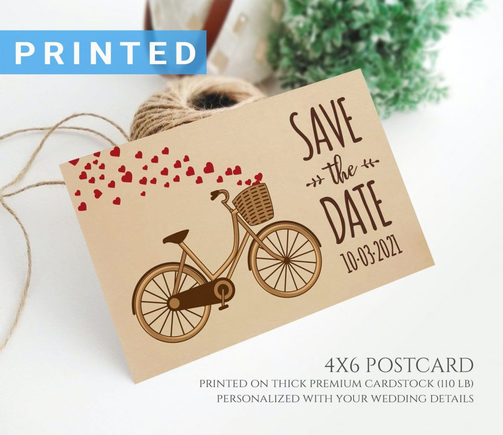 Bicycle Save The Date Postcard Printed On Kraft Cardstock | Simple Rustic Country Wedding Save Date Cards