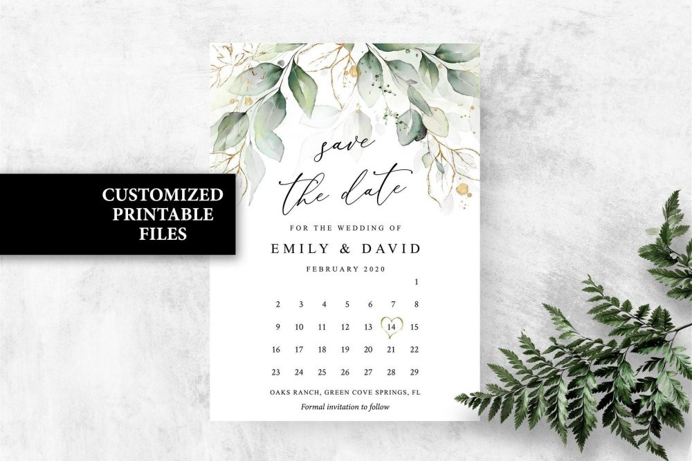 Calendar Save The Date Greenery Save Date Cards, Spring Summer Boho Eucalyptus Wedding Dates Printable