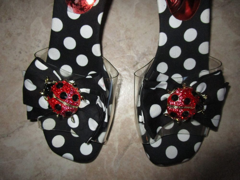 Adorable Black & White Polka Dots Jeweled Ladybug Shoes J Renee