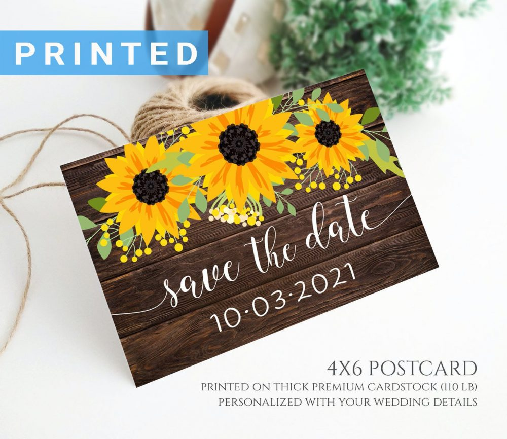 Rustic Wedding Save The Date Card | Dark Wood & Sunflower Save Date Postcard For Country, Barn, Backyard Cards