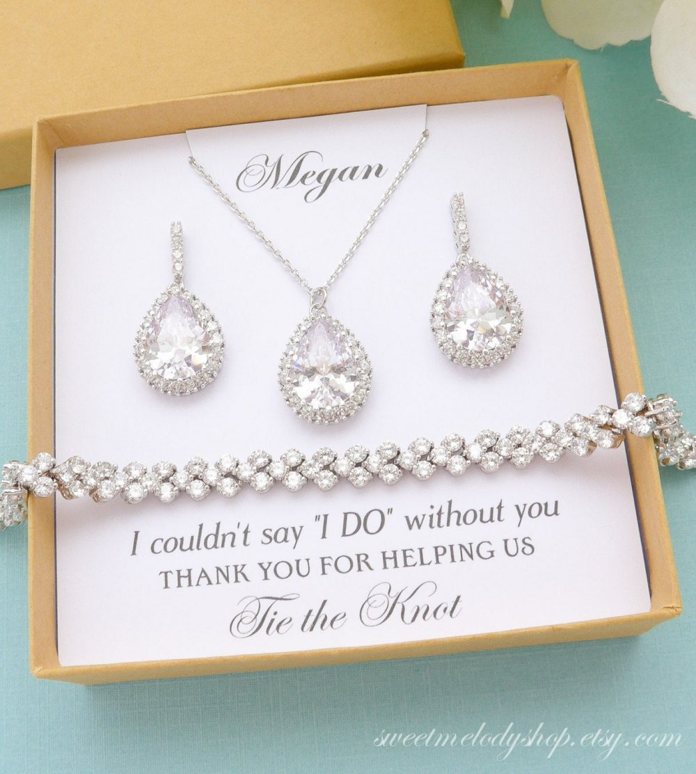 Personalized Bridesmaid Gift, Earrings, Jewelry Set, Bridal Bracelet Necklace, Party Gifts, Mother Of Bride