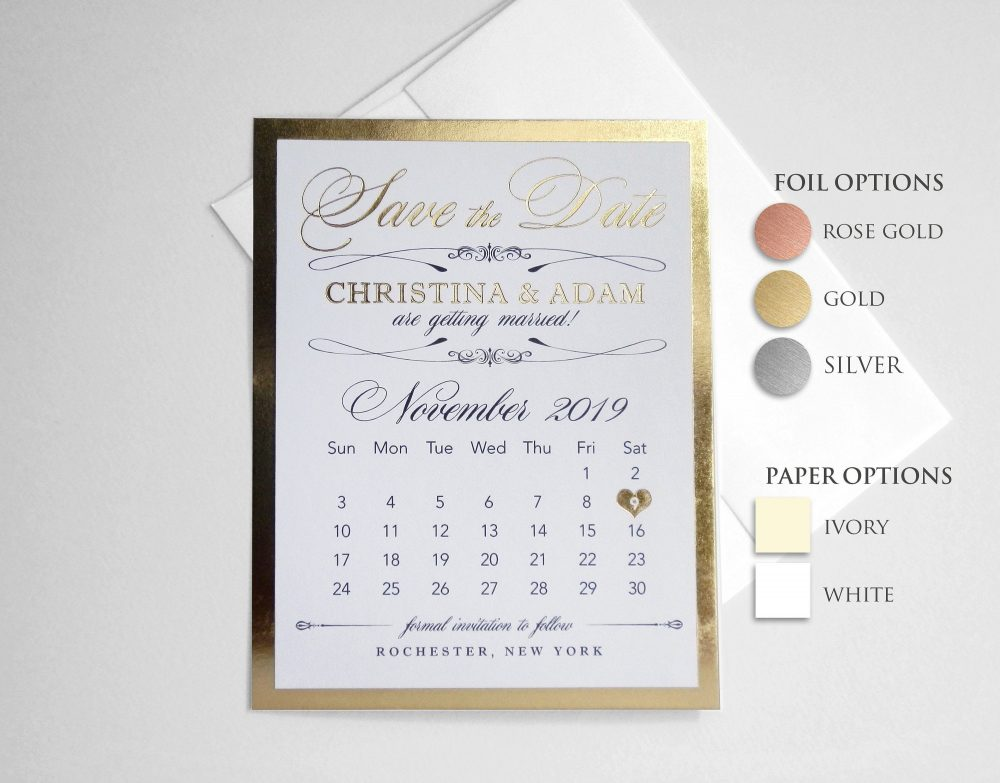 Save The Date Calendar Wedding Announcement Card. Ivory/Ecru Or White. Rose Gold, Gold, Silver Foil Card | Elegant Save