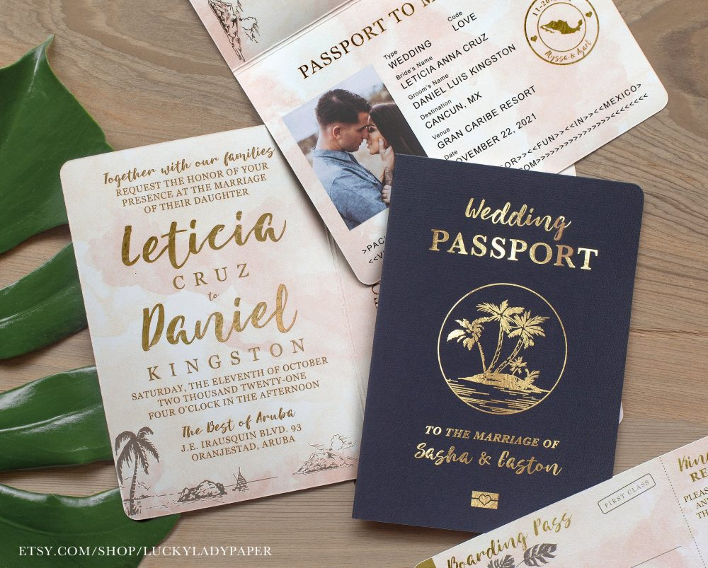 Destination Wedding Passport Invitation Set Gold Foil & Blush Watercolor Tropical Design Real Available - See Item Details To Order