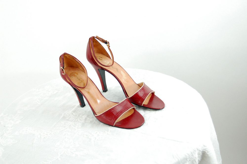 1970S Heels Red Leather Ankle Strap Tooled Peep Toe High By Nina Size 9N