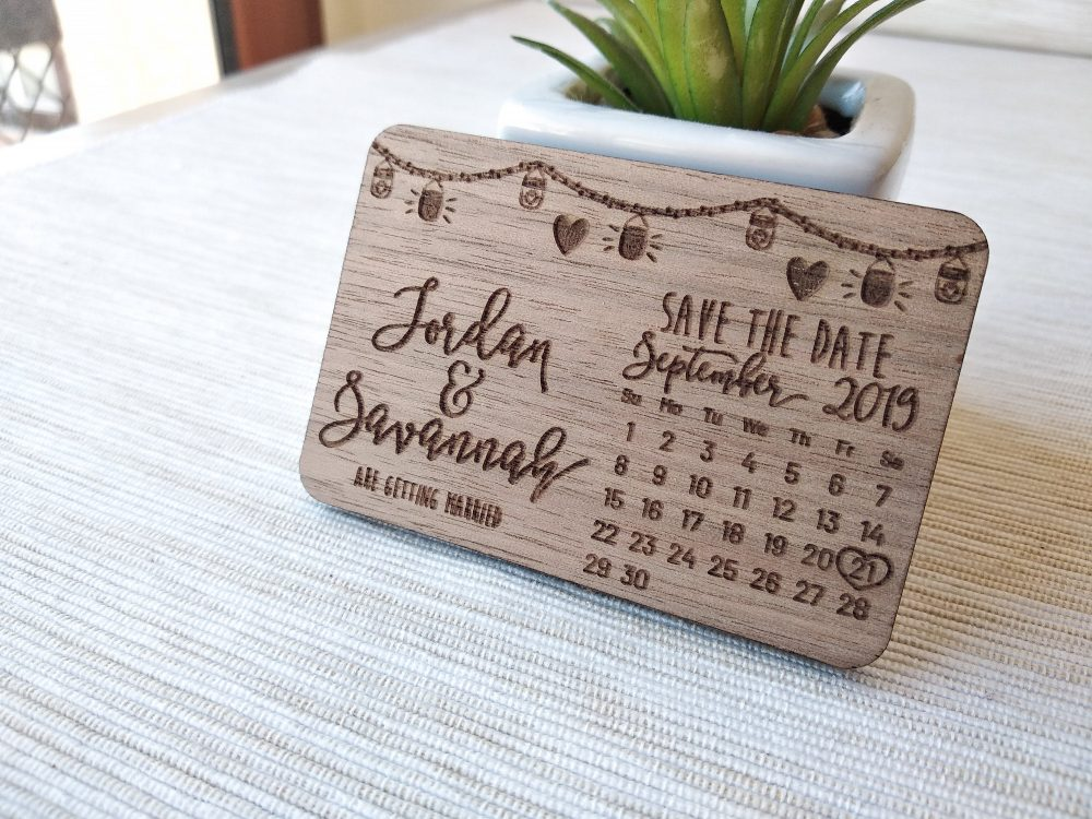 Calendar Wooden Wedding Save The Date Magnets, Rustic Mason Jar Wood Magnet, Gifts 10 Pcs
