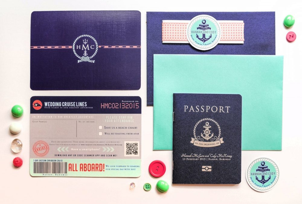 Cruise Wedding Passport Invitation Destination Anchors
