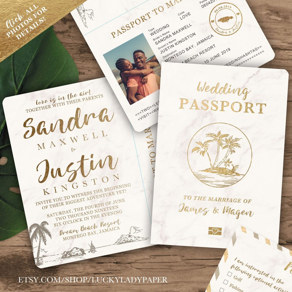 Destination Wedding Passport Invitation Set in Gold & Marble Tropical Design By Luckyladypaper - See Item Details To Order