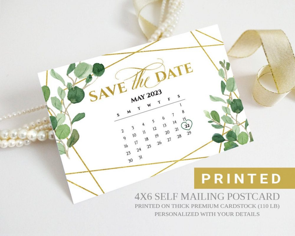 Greenery Save The Date Calendar Postcard | Gold, Geometric, Eucalyptus Leaves, Botanical Wedding Save Date Cards Printed Greenery Card