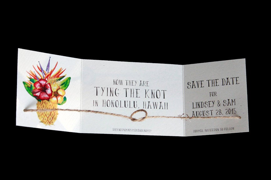 Destination Wedding Announcement, Tying The Knot Save Date, Beach Tropical Knot Announcement Set Of 25
