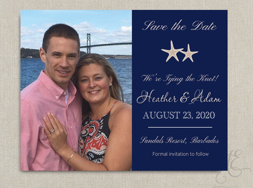 Nautical Beach Anchor Starfish Navy Wedding Save The Date Dates Photo Magnets Post Cards Invitation Grey Coral Pink Teal Gold