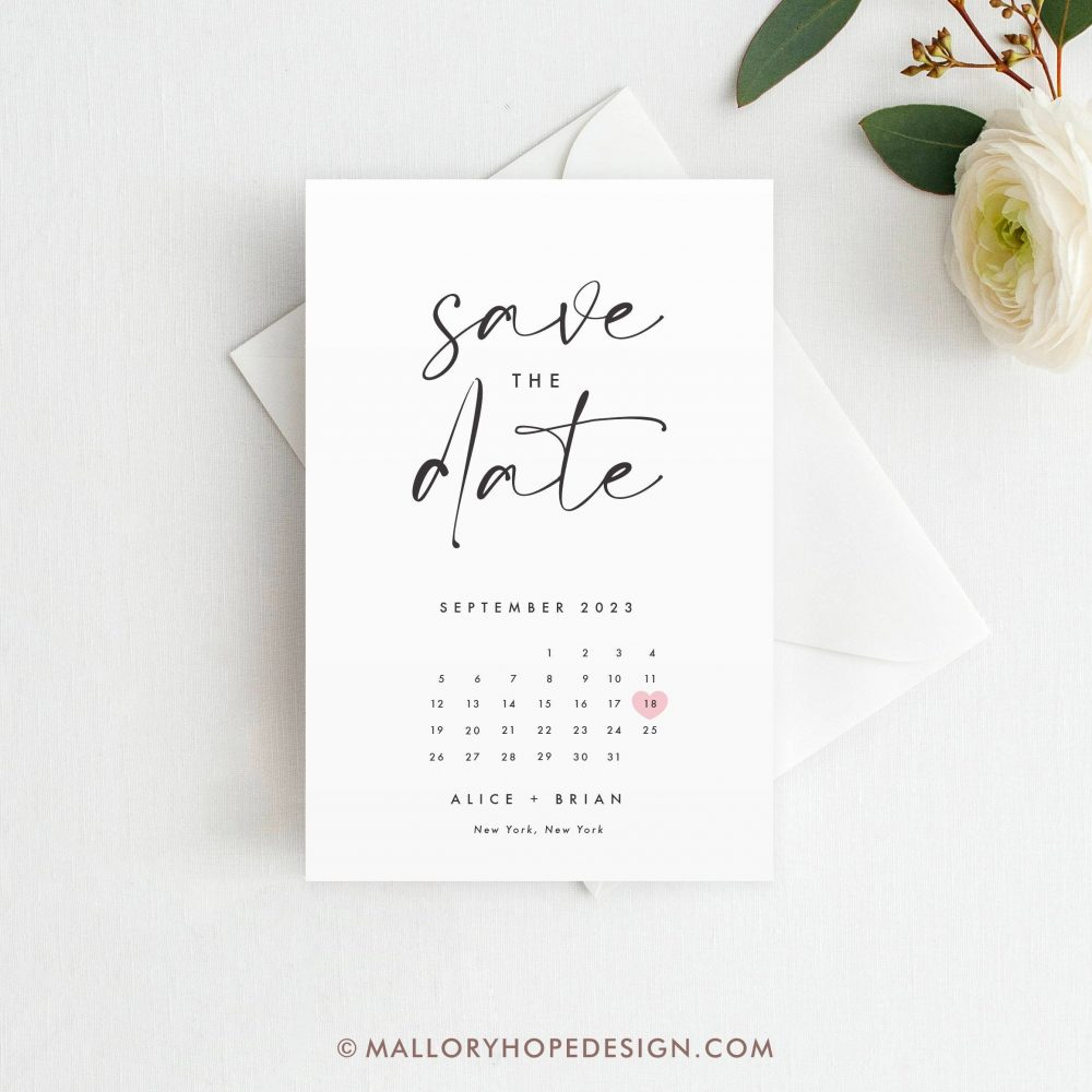 Printed Minimal Calendar Save The Date Postcard, Magnet Or Flat Card, Clean Save Date, Calendar Modern Date Card