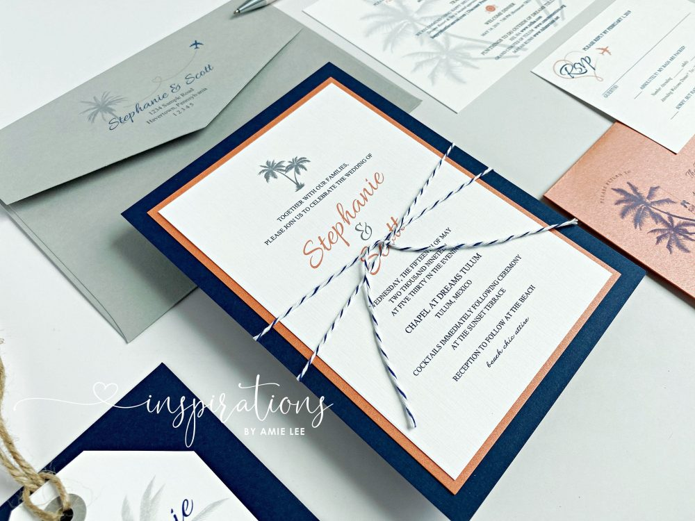 Wedding Invitations, Destination Wedding, Beach Palm Trees, Elegant Invitations