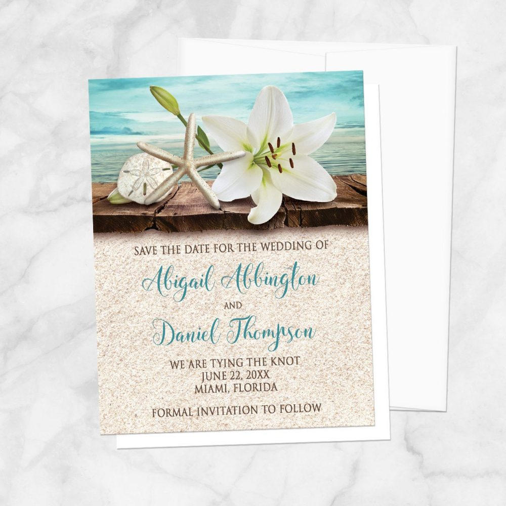 Beach Save The Date Cards, Lily Seashells Sand Teal - Destination Summer Tropical Save Date Printed