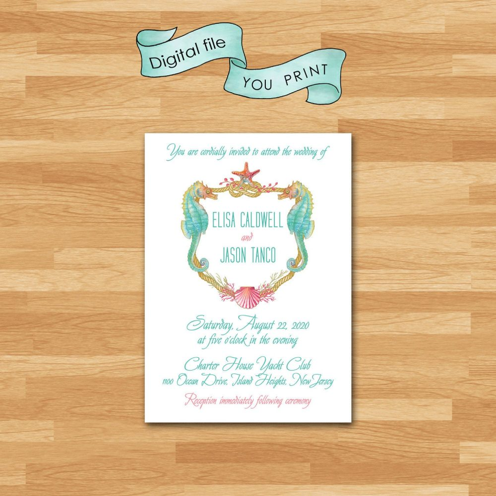 Seahorse Invitation/Beach, Ocean, Nautical Wedding Suite Modern Starfish Shells Coral Pink Aqua & Green You Print