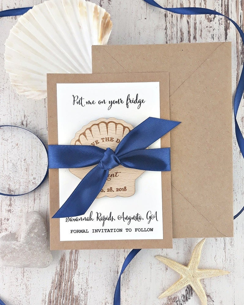 Seashell Save The Date The Magnet Beach Dates Magnets Wedding Favor