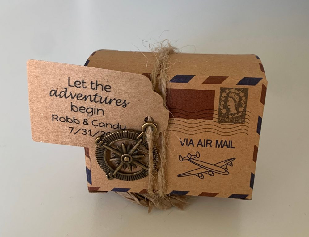 Travel Vintage Destination Wedding Favor Box, Personalized With Burlap Accessories Earth/Compass Quinceañera, Sweet 16, Baby