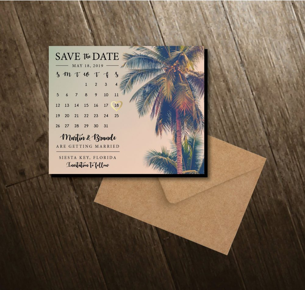 Palm Tree Save The Dates, Calendar Magnets, Beach, Summer, Personalized, Wedding, Save Date Dates + Envelopes