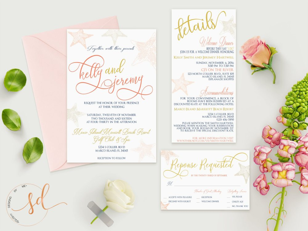 Rustic Beach Wedding Invitation Set, Ocean Destination Wedding, Fun Summer Starfish Coral Sea Shell Invite, Pocket Style, Gold Digital