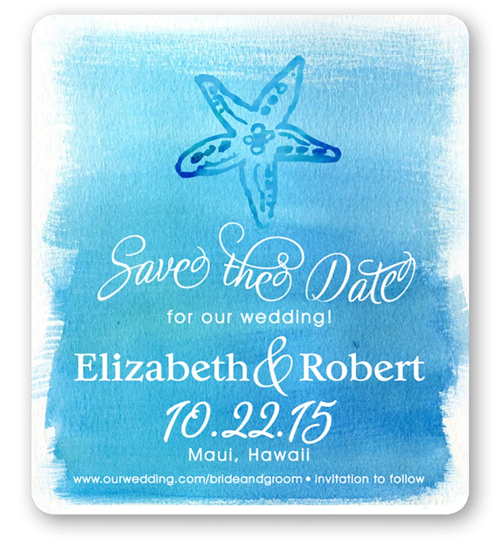 Magnet - Save The Date Starfish Tropical Magnet, Starfish, Destination Wedding, Beach Wedding Invitations