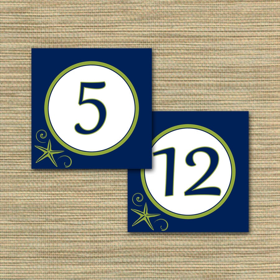 "Navy Blue & Lime Green Table Numbers/Beach Theme, Starfish Matching Invitation Suite Tent Fold 5"" Square You Print Diy"
