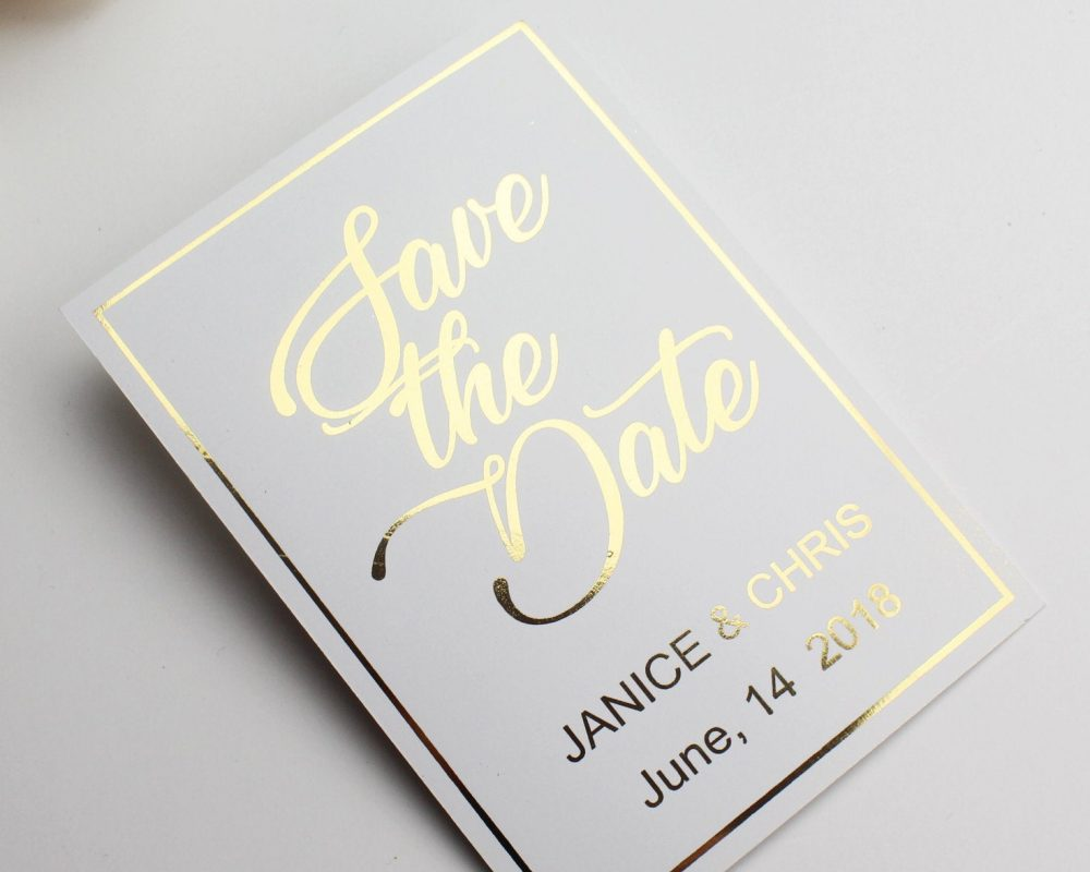 Elegant Save The Date Cards, Dates Card, Hot Foil Date, Gold Wedding Card
